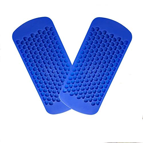KABB 2 Pack Small 150 Grids Mini Silicone Ice Cube Trays Heart Shaped Candy Chocolate Molds for Whiskey Juice Salad Drinks, Blue