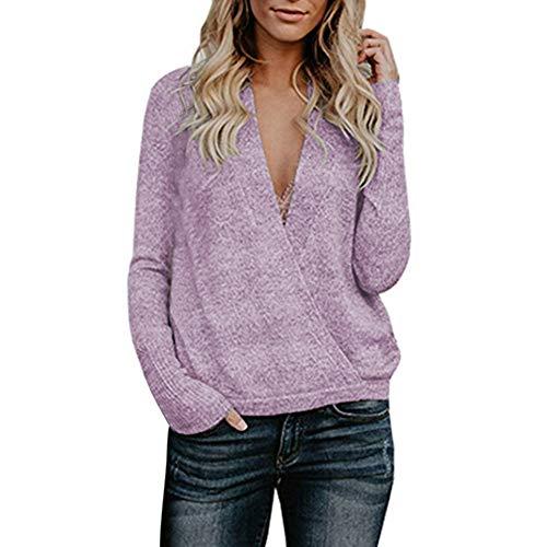 Damen V Ausschnitt Casual Shirts Knit Pullover Tops Langarm Sweatshirt Herbst Winter MYMYG Einfarbig...