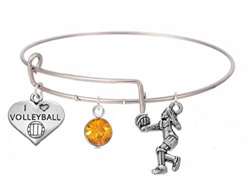 Lemegeton Love Edelstahl Volleyball Sport Charms erweiterbar Armreif Armband mit Kristall für Frauen & Mädchen