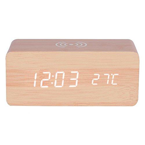 VBESTLIFE Holz Digitaler Wecker Uhr,Qi Wireless Lade LED Spiegel Uhr,Sound Control Digital Tischuhr(Bambus + weißes Licht)