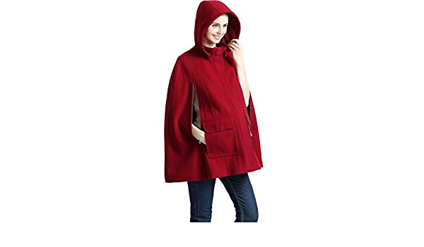 27b0d993f1684 Kimi + Kai Maternity Robin Wool Blend Cape Coat - Red -: Amazon.co.uk:  Clothing