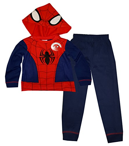 Marvel Spiderman Jungen Long Length Neuheit Dress Up abnehmbare Kapuze Pyjama 2-8 (Man Spider Kostüme Kapuzen)