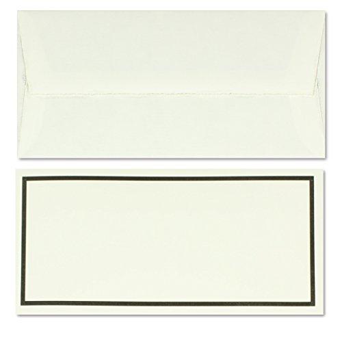 50 Stück gefütterte Trauerumschläge aus echtem Büttenpapier, DIN Lang, naturweiß gerippt mit schwarzem Trauer-Rand, 11 x 22 cm (Geprägte Tote Gefüttert)