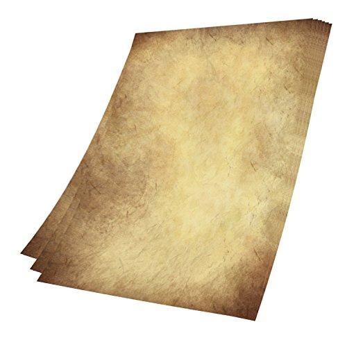 50 Stück Altes Papier mit extra 10 Blatt Kraftpapier, DIY DIN A4 Antik Briefpapier beidseitig Druck...