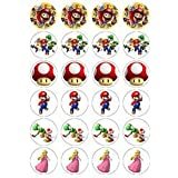 Nintendo Super Mario style 24 Edible Wafer Paper Fairy/Cup Cake Toppers on an A4 sheet - Birthday Cake and Party Idea