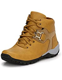 Shoegaro Tan Synthetic Leather Boots For Men