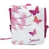 Kinder-Rucksack mit Namen Jasmin und schönem Motiv mit Schmetterlingen für Mädchen