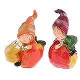 Fenteer 1 Paar Gartenfigur Dekofigur Kinder aus Harz, lebenechte Tischdeko, Hingucker, Geschenkidee - Auf Apple