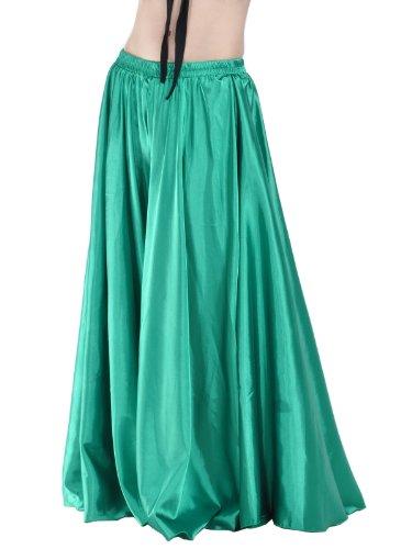 Dance Fairy Dark Green Bauchtanz-Satin-langes Rock-Kostüm (Schnell Und Einfach Gute Halloween Kostüme)