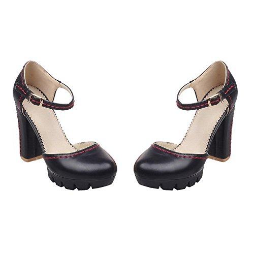 VogueZone009 Femme Rond à Talon Haut Matière Souple Couleur Unie Boucle Chaussures Légeres Noir