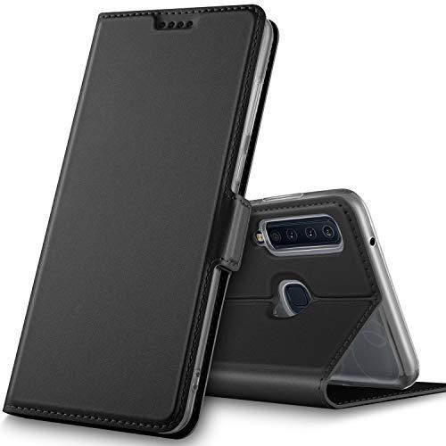 GeeMai für Samsung Galaxy A9 2018 Hülle, Leder Hülle Flip Case Wallet Stylish mit Standfunktion und Magnetisch Ledertasche Schutzhülle handyhüllen passt für Samsung Galaxy A9 2018 Phone, Schwarz