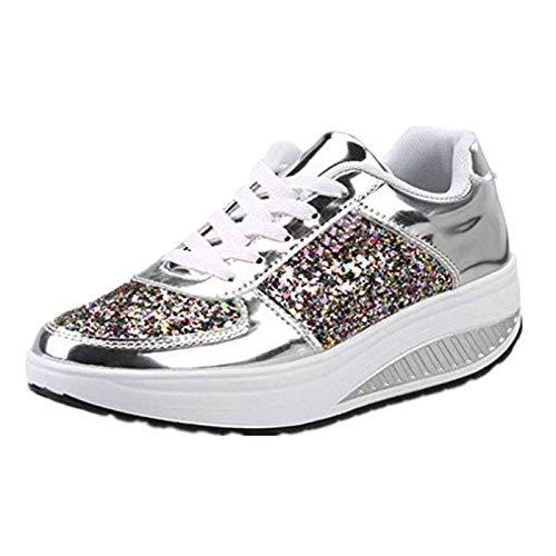 beautyjourney Scarpe sneakers estive eleganti donna scarpe da ginnastica donna scarpe da corsa donna Sportive Scarpe Da Lavoro donna scarpe donna stringate - Donna scarpe moda sportive (37, Bianca)