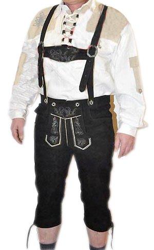 Alpin-Trachten Herren-Trachtenlederhose Kniebundhose mit H-Träger, 52