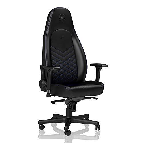 noblechairs Icon Sedia da Gaming - Sedia da Ufficio - Sedia da scrivania - Ecopelle PU - Ergonomico - Imbottitura Schiuma Fredda - 150 kg - Sedile da Corsa Design - Nero/Blu