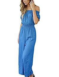 Saoye Fashion Donna Tutine Blu Eleganti Senza Schienale Senza Spalline  Spalla di Parola Manica Corta Estive 3e15a05671a