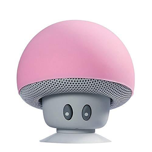 LJSHU Lautsprecher Wireless Tragbare Reise Mini Kreative Pilzkopf Saugkopf Kleine Stereoanlage,Pink