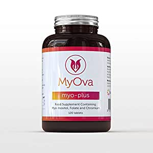 MyOva Myo-Plus natural supplement for PCOS with 4000mg Myo-Inositol + 200ug Folate + 100ug Chromium - Promotes hormonal balance & normal ovarian function - 120 tablets - Made in the UK