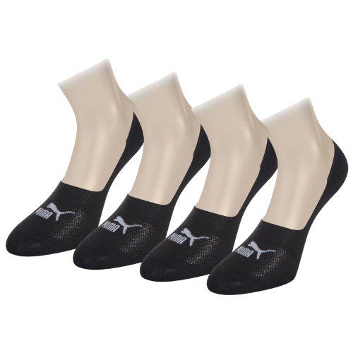 PUMA Unisex Invisible Footie Sport Socken Sportsocken 4er Pack (43-46, Black) (Socken Footie Slipper)
