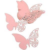 JZK® 50 x tarjetas etiquetas decorativas en forma de mariposa para boda invitaciones, agradecimiento, regalo, detalle de boda, cumpleaño, comunión, bautizo o fiesta (perlado rosa )