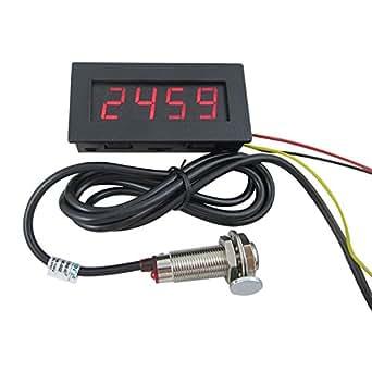 Digiten 4 Digital Led Tachometer Rpm Speed Meter Hall