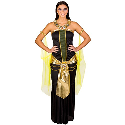 Mädchen Mächtiger Kostüme Halloween 2017 Ein (Frauenkostüm mächtige Pharaonin Nofretete | Glamouröses Kleid mit Gürtel | Neckholder-Kragen | Tüllärmel (XXL | Nr.)