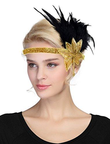 Damen Fascinator 1920s Vintage Flapper Feder Stirnband Derby -
