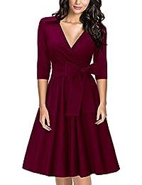 MIUSOL Damen Elegant 3/4 Ärmel V-Ausschnitt 40er Retro Cocktailkleid RockabillyParty Kleid