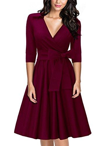 Miusol Damen Elegant 3/4 Aermel V-Ausschnitt 40er Retro Cocktailkleid RockabillyParty Kleid...