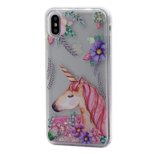 Keyihan iPhone XS Max (6.5') Custodia Liquido Cover Divertenti Brillantini Glitter Flowing Protettiva Bumper Caso Rigida con Morbido Bordo per Apple iPhone XS Max 2018 (Fiore di Unicorno)