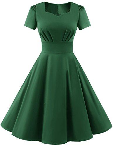 Dresstells Damen Vintage 50er Rockabilly Kurzarm Swing Kleider Partykleid Green 2XL