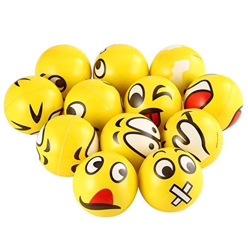 Emoji Stress Balls, 12 PCS Party aufblasbare Strandbälle - Stressabbaukugeln, Spielzeugkugeln, Partyspielzeug (12 Pack) - Emojis Stress-bälle