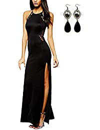 63c6dca30a1c Angelwing da Donna Sottile Vestito con Aberturas Abito Maxi di Pizzo Senza  Schienale Vestiti da Cerimonia Abito da…