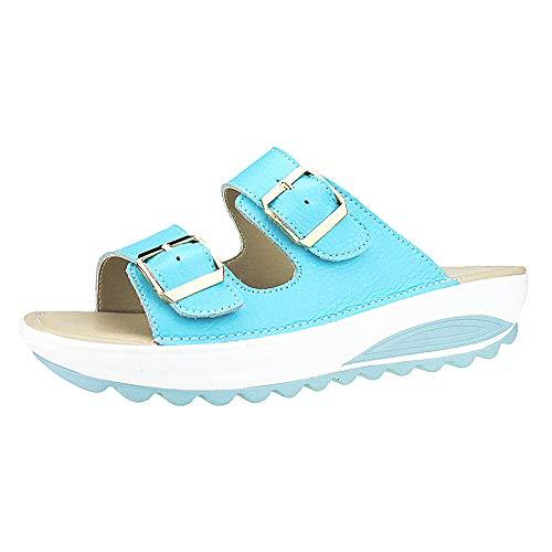 WWricotta Popular Summer Women Casual Sandals Beach Slipper Peep Toe Platform Soft Shoes(Blau,38) Stretch-peep-toe