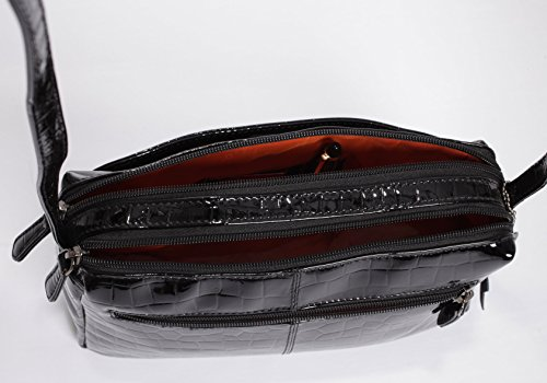 leichte LEDER Tasche BEVERLY von JOSYBAG KK-schwarz/Glanzprägung