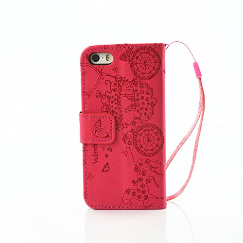 iPhone Case Cover IPhone 5S SE 5 Case, Résine strass Embossed Flower papillon motif Case Folio Stand Case PU Leather Case avec slot Cash Card et Photo Window Hand Strap Stand Case pour IPhone 5S SE (  Red