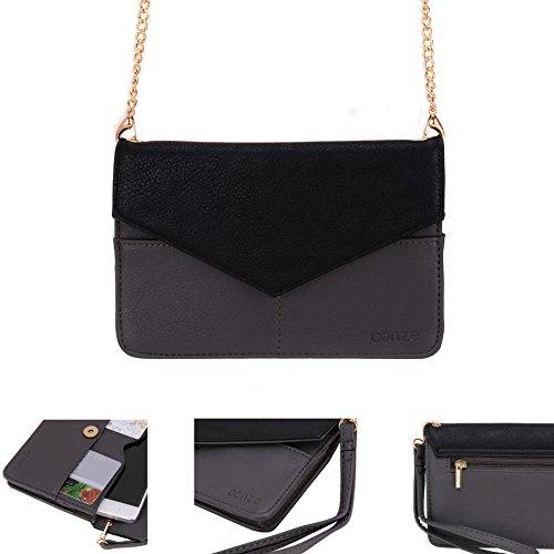 Conze da donna portafoglio tutto borsa con spallacci per Smart Phone per Motorola Moto G 4G (2nd Gen)/Dual SIM (2nd Gen) Grigio grigio grigio