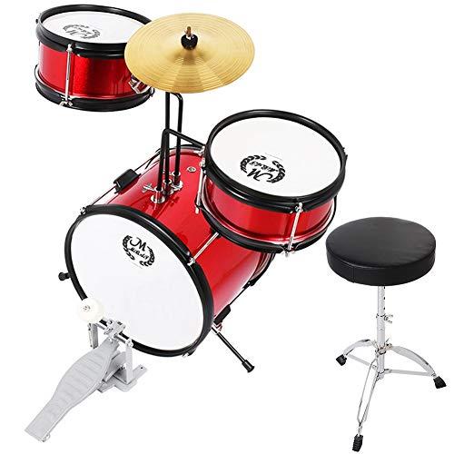 3-teiliges Schlagzeugset, rotes Schlagzeugset Kinder-Schlagzeugset Junior-Schlagzeugset Musikalisches Training Kleine Schlagzeugfelle Beckensticks Halterung Pedal-Set Handpercussion Musikinstrumente