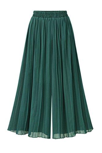 Frauen - Elastische Chiffon Gefaltete Hose Green