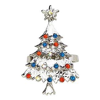 4 Piezas Oro Hebilla de servilleta de árbol de Navidad – Anillos de servilleta de metal para vajilla de fiesta de almuerzo de Navidad – Servilletero de decoraciones navideñas