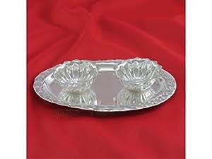 Haldi Kumkum container with plate in german silver Vedic Vaani™