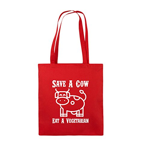 Comedy Bags - SAVE A COW EAT A VIGETARIAN - Jutebeutel - lange Henkel - 38x42cm - Farbe: Schwarz / Pink Rot / Weiss