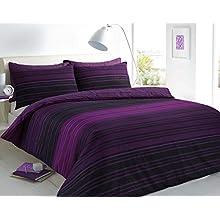 Sleepdown Textured Stripe Purple Duvet Cover & Pillowcase Set Bedding Quilt Case Single Double King Super King (Double)