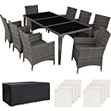 TecTake 403084 - Set di Mobili da Giardino Alluminio, 8 Sedie & 1 Tavolo con Piano in Vero Vetro, 2 Set di Rivestimenti, 1 Copertura Protettiva, Grigio