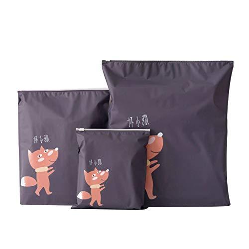 YESOT Reißverschlusstasche mit Cartoon-Muster, 3 Stück, praktisch, wasserfest, faltbar, Aufbewahrungstasche, Kosmetik, Aufbewahrungstasche 21 * 24cm 、 32 * 27cm、37 * 41cm schwarz