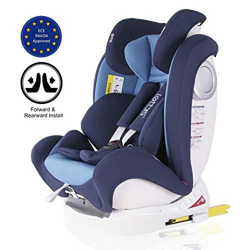 LETTAS Silla de coche Isofix grupo 0+1/2/3 (0-36 kg, desde los 0 meses hasta los 12 años) ECE R44/04 (Armada-2)