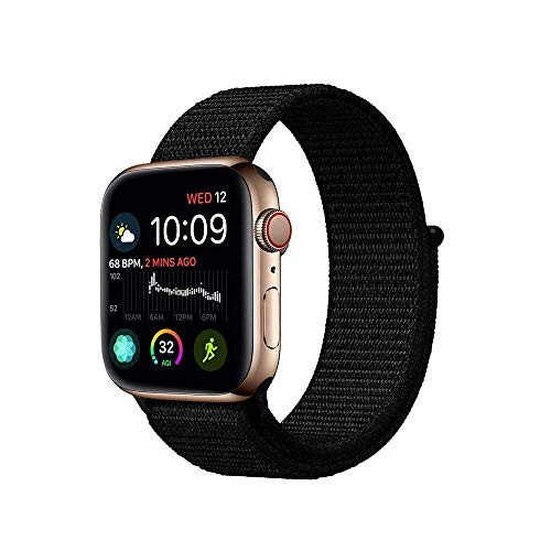 Tervoka Für Apple Watch Armband 42mm(44mm Series 4), Gewobenes Nylon Sport Schlaufe Handgelenk Uhrband Ersatz Armreif Uhrenarmband für iWatch Apple Watch 42mm 44mm Series 4/3/2/1, Dunk Schwarz