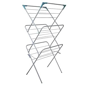 JVL Indoor Outdoor Folding 3 Tier Concertina Laundry Washing Clothes Horse Airer - White
