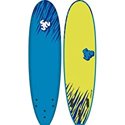 "Planche DE Surf Mousse EPS 7'0"" Surf & Sun TIGERSQUID Blue/Fluro Yellow"
