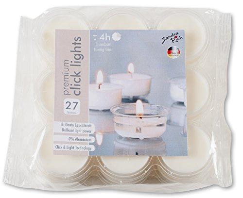 Premium CLICK LIGHTS. 27 Stück. Ca 4 h Brenndauer. Teelichter in transparenter Hülle.