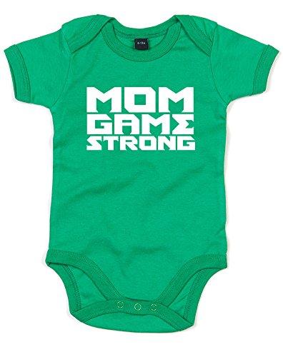 Mom Game Strong, Gedruckt Baby Strampler - Grün/Weiß 6-12 Monate